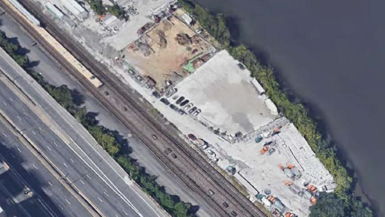 Aerial view of the recently acquired waterfront land.