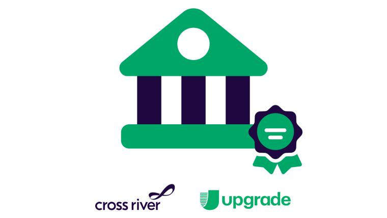 Illustration of Bank with Upgrade and Cross River logos